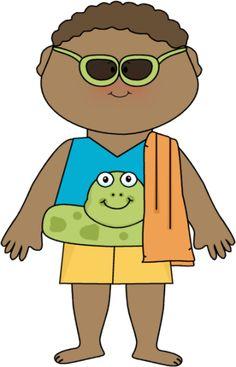 ... | Boy Ready for Summer Clip Art Image - boy wearing swim clothes