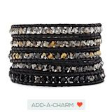 The Crystal Dorado Mix Wrap Bracelet on Natural Black Leather by Jewelry Designer Chan Luu