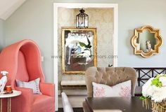 Peach pink & Taupe Living Room