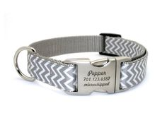 Chevron Stripe Laser Engraved Buckle Personalized Dog Collar - SILVER on Etsy, $34.99