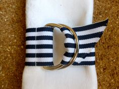 Set of 6 Nautical Navy & White Striped Grosgrain D-Ring Napkin Rings. $23.00, via Etsy.  Great idea for any wedding reception, party, baby shower, corporate event, holiday or just a nice added pop to your family table!