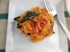 spaghetti squash with sun dried tomato pesto | Dishing Up the Dirt