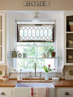 Shelf above kitchen sink