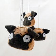 Plush Pug Dog Ornament Handmade Felt on Etsy, $10.00