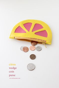 Citrus Wedge Coin Purse FREE SEWING TUTORIAL