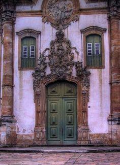 the doors, green doors, church, window, st francis, color, facad, front doors, minas gerais