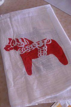 dala horse tea towel