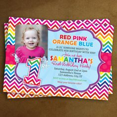 Sassy Chevron Rainbow -  First Birthday Party Printable Photo Invitation  -- Any Color on Etsy, $12.99