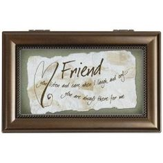 Carson Home Accents 17462 Friend Rectangle Music Box, 6-Inch by 4-Inch by 2-1/2-Inch - Friendship Day Gifts - festchacha.com