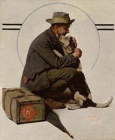 artists, homecoming, beagl, norman rockwell paintings, dogs, friends, american art, norman rockwell art, normanrockwel