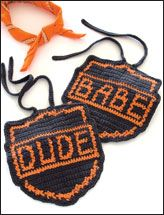 Babe and Dude crochet bibs