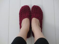 Seaspray slippers. Worked from the hee, by the looks.