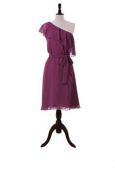 Short One Shoulder Chiffon Dress