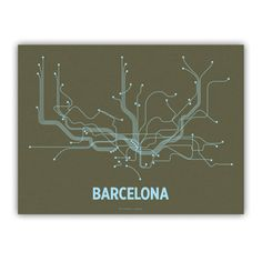 Barcelona Lineposter Screen Print  Olive/Light Blue by lineposters, $28.00