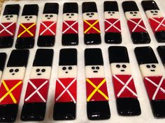 Toy Soldier Christmas Ornaments right out of the kiln!   By Kim Natwig.