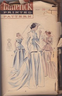 50s Wedding Dress Vintage Pattern - Butterick 6581. What a classy, understated wedding gown!