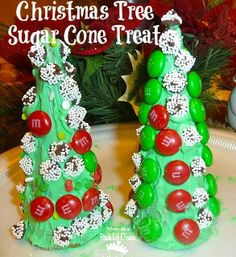 Kid Made Sugar Cone Christmas Tree Treat - not sure which is more fun, the decorating or the eating!