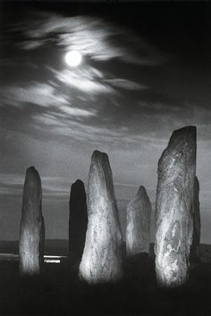 Standing stones by moonlight