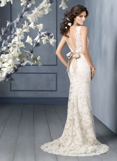 A-line Lace Charmeuse Scallop Bateau Sweep Train Open V-back Wedding Dress