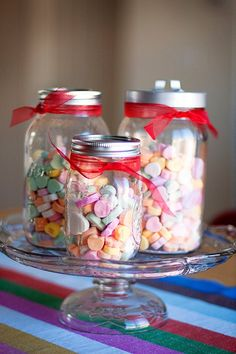 Candy heart canning jars
