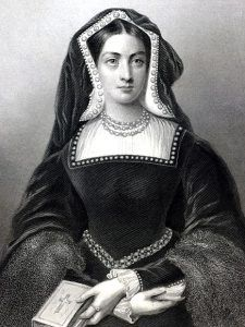 Catherine of Aragon.  First wife of Henry VIII.  She produced no living male heirs, and the king divorced her in order to marry Anne Boleyn.  Unlike Anne, Catherine was lucky enough to die of natural causes (most likely cancer).