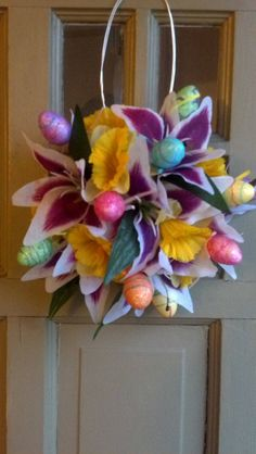 Easter door decoration. I made this for a couple dollars:)