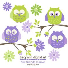 Girl: Pretty Baby Owls  Clip Art -  Purple and lime Baby Owls  on branches Clip Art Set 4 via Etsy.