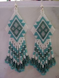 Native American Beaded White Turquoise Frost and Teal Weave Earrings. $25.00, via Etsy.