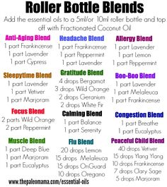 Roller Bottle Recipes for your Essential Oils! Get started using essential oils: www.thepaleomama.com/essential-oils