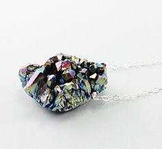 Silver druzy necklace rainbow drusy amethyst #fashion #jewelry #handmade #etsy