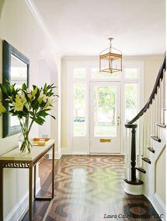 wood inlay floor, gold lantern, classic style