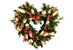 "13"" Victorian Heart Wreath on OneKingsLane.com This heart-shaped wreath, made of fresh boxwood and studded with larkspur berries, features a delicate, freeze-dried rose.  Keep away from bright sunlight to prevent premature fading.  Size:  13"" x 13""."