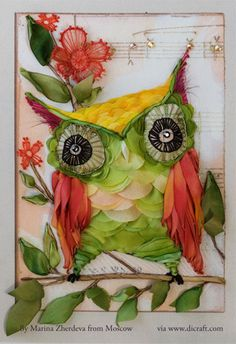 For the latest news in silk ribbon embroidery. Olive the owl by artist: Cori Dantini, embroidered by Marina Zherdeva from Moscow....  ♥