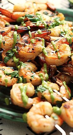 Cilantro Lime Grilled Shrimp with Roasted Poblano Sauce