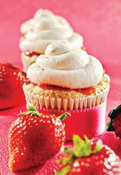Angel Food Cupcakes with Strawberry Whipped Cream Frosting