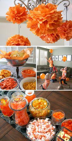 Gotta love orange! Cool party ideas.