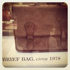 Our Coach Brief Bag, circa 1978, on display in our Madison Street store in NYC #ThrowbackThursday #tbt