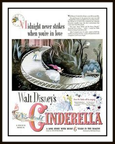 I NEED THIS FRAMED AND ON MY WALL!!! 1950 Vintage Advert for Disney's cartoon film 'Cinderella' for Life magazine!