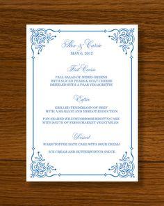 INSTANT DOWNLOAD - Wedding Menu Template - Flourish Frame Design. $14.50, via Etsy.