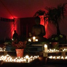 We'll round off today with some pictures of the night shrine, ablaze with candles… And we'll have today's talks just as soon as they appear online!  Thanks to Vidyatara, who you can also hear talking about the shrine: https://thebuddhistcentre.com/internationalretreat/day-1-vidyatara-talks-about-shrine-international-retreat