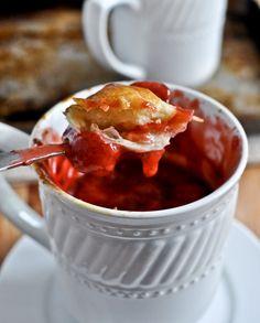 strawberry pie in a mug