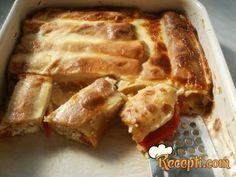 Recept za Palačinke iz rerne. Za spremanje ovog jela neophodno je pripremiti brašno, mleko, jaja, vodu, vanil šećer, so, sitan sir, krastavčiće, so, biber, papriku, pavlaku, kačkavalj.
