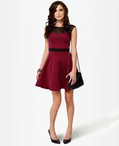 Spin Doctor Burgundy Dress