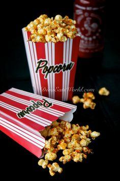 Siracha Hot Sauce Popcorn. I must try this we love Siracha!