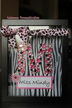 Rhinestone monogram shadow box. Great dance teacher gift
