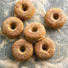 These doughnuts are baked not fried, which means you can have as many as you want! (Right?) http://www.bhg.com/recipes/breakfast/easy/make-ahead-breakfast/?socsrc=bhgpin072514bakedapplespicedoughnuts&page=11