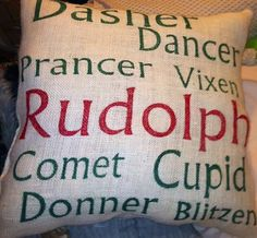 Christmas Burlap Pillow--You could make this pillow.
