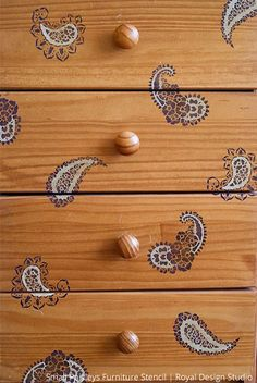 Painted and stenciled furniture - Royal Design Studio Indian inspired stencil designs