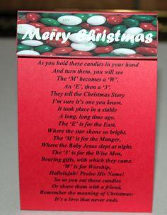 M & M's Christmas Poem Treat Bags.  Cute idea for Paige's class!