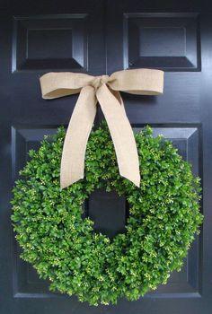 Fall Boxwood Wreath- Year Round Wreath Decor- Etsy Wreath- Artificial Boxwood Wreath- Burlap Ribbon- Christmas Wreath- Fall Wreath